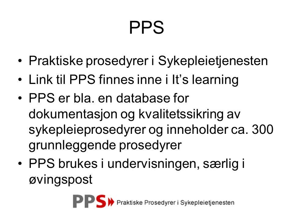 PPS Praktiske prosedyrer i Sykepleietjenesten