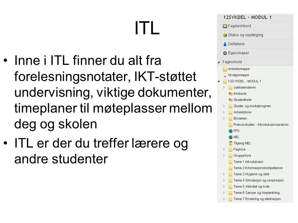 ITL Inne i ITL finner du alt fra forelesningsnotater, IKT-støttet undervisning, viktige dokumenter, timeplaner til møteplasser mellom deg og skolen.