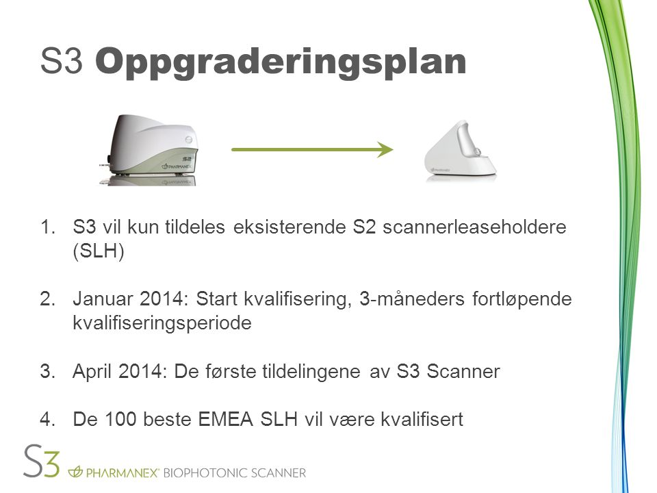 S3 Oppgraderingsplan S3 vil kun tildeles eksisterende S2 scannerleaseholdere (SLH)