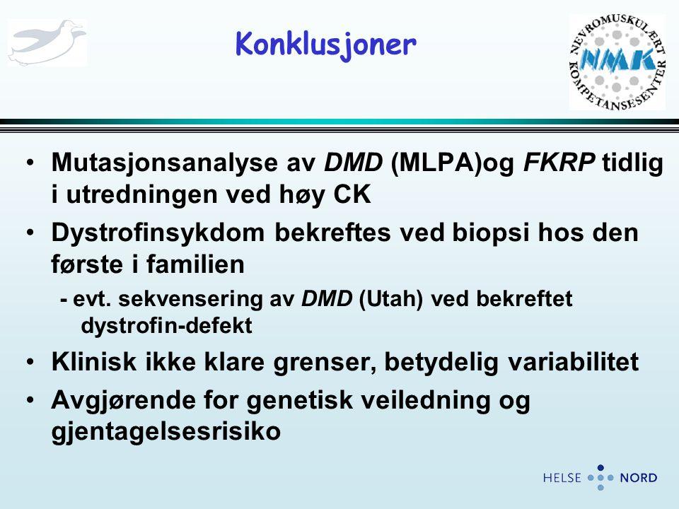 Konklusjoner Mutasjonsanalyse av DMD (MLPA)og FKRP tidlig i utredningen ved høy CK. Dystrofinsykdom bekreftes ved biopsi hos den første i familien.