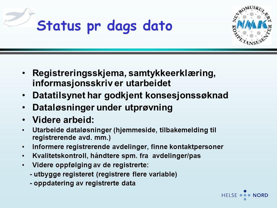 Status pr dags dato Registreringsskjema, samtykkeerklæring, informasjonsskriv er utarbeidet. Datatilsynet har godkjent konsesjonssøknad.