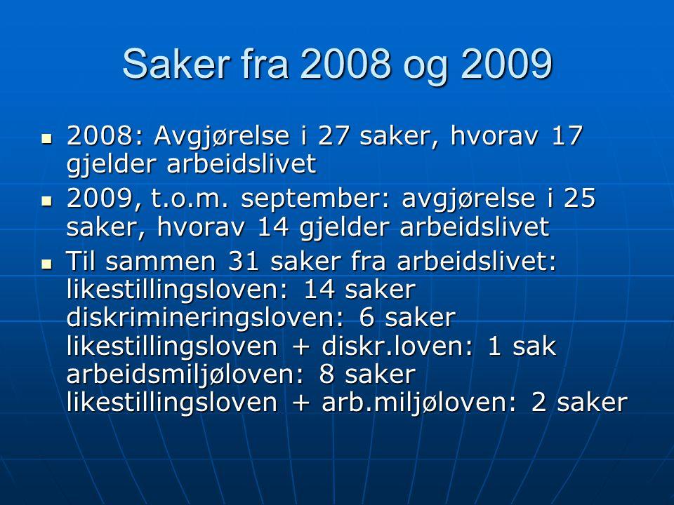 Saker fra 2008 og 2009 2008: Avgjørelse i 27 saker, hvorav 17 gjelder arbeidslivet.