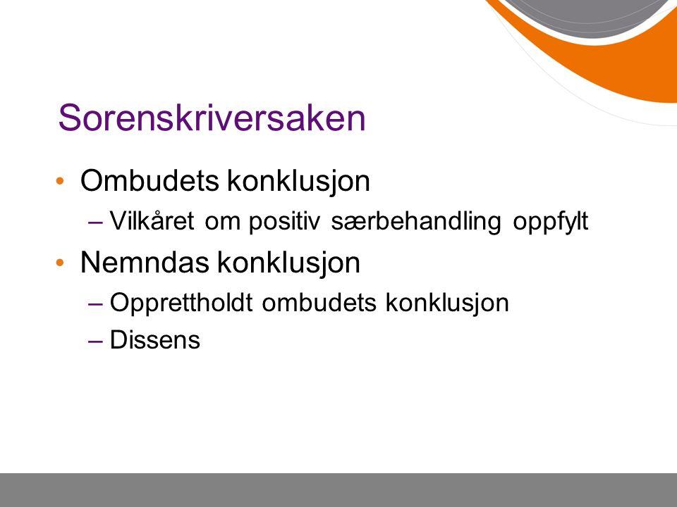 Sorenskriversaken Ombudets konklusjon Nemndas konklusjon