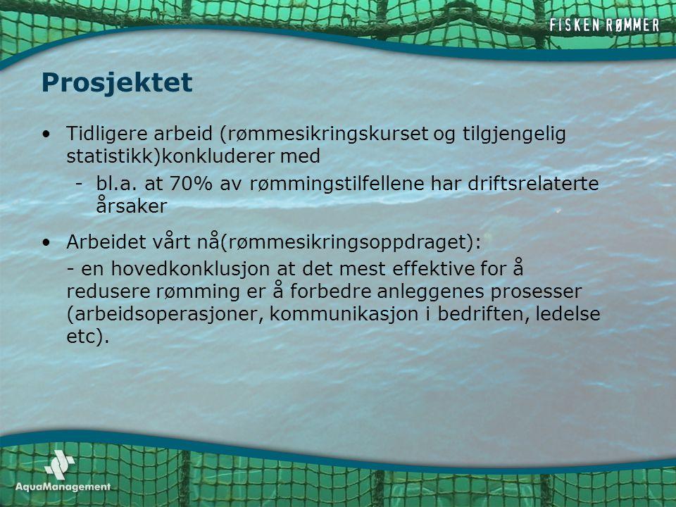 Prosjektet Tidligere arbeid (rømmesikringskurset og tilgjengelig statistikk)konkluderer med.