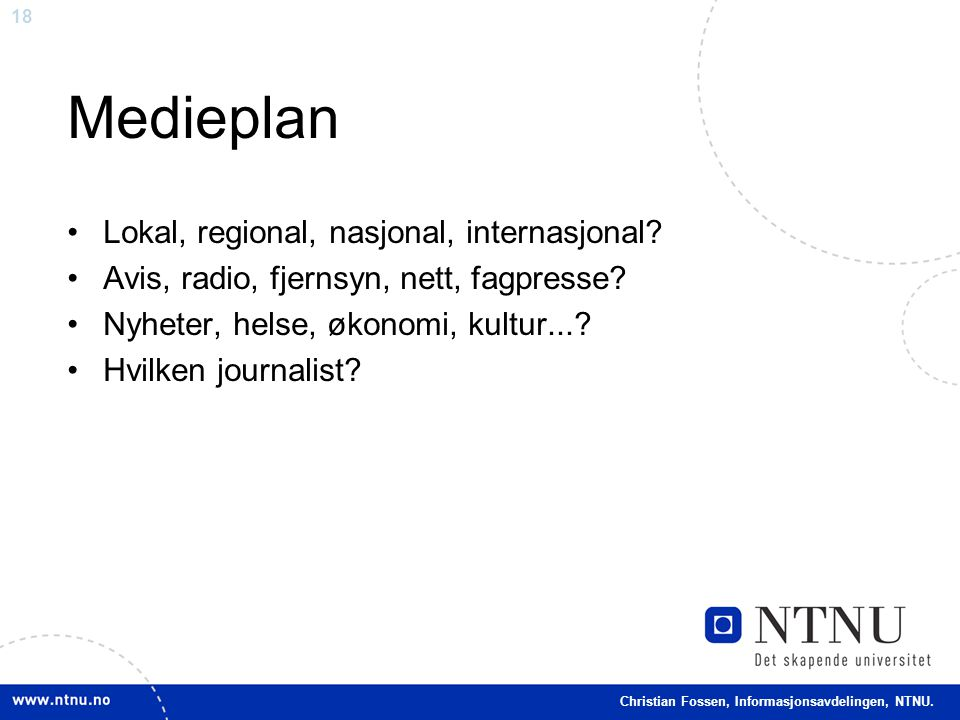 Medieplan Lokal, regional, nasjonal, internasjonal