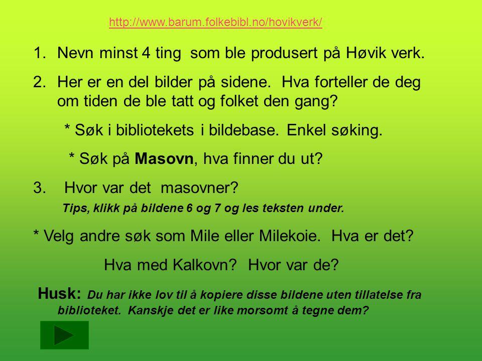 Nevn minst 4 ting som ble produsert på Høvik verk.