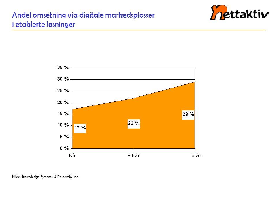 Andel omsetning via digitale markedsplasser i etablerte løsninger