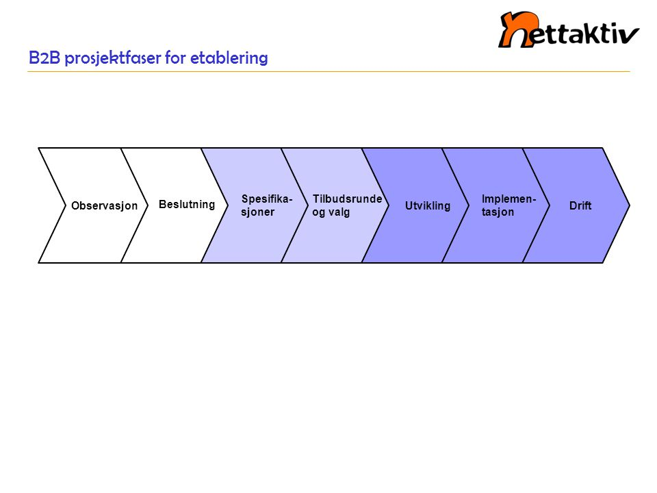 B2B prosjektfaser for etablering