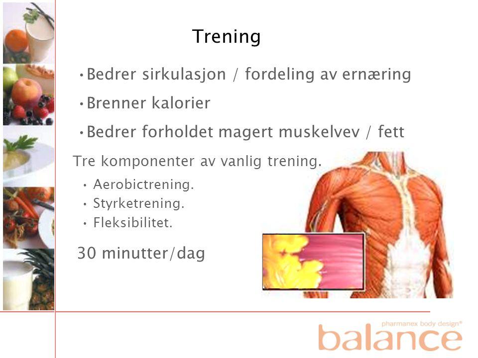 Trening Bedrer sirkulasjon / fordeling av ernæring Brenner kalorier