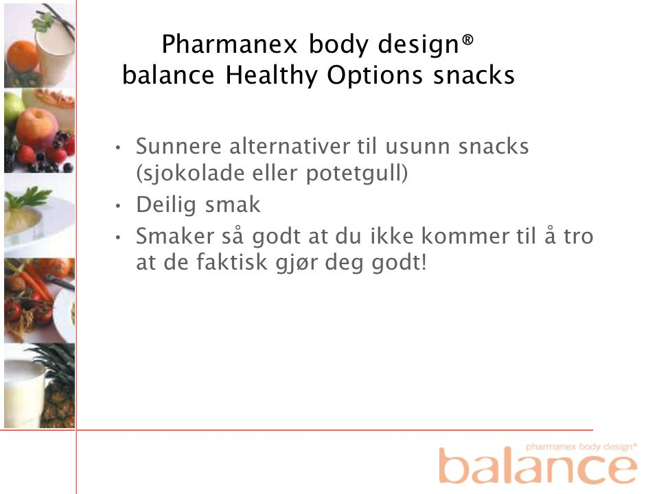 Pharmanex body design® balance Healthy Options snacks