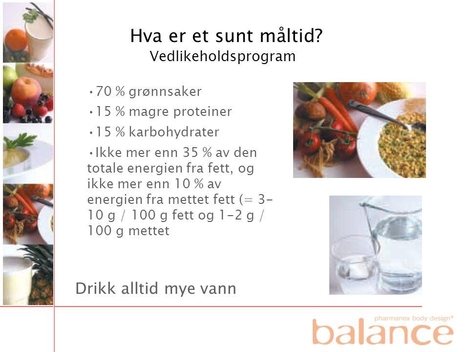 Hva er et sunt måltid Drikk alltid mye vann Vedlikeholdsprogram