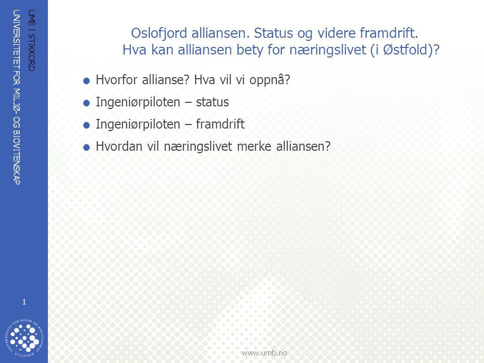 Oslofjord alliansen. Status og videre framdrift