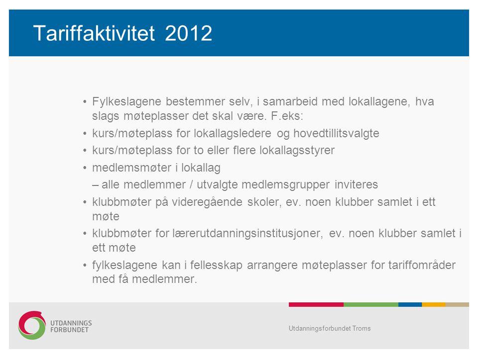 Tariffaktivitet 2012 Fylkeslagene bestemmer selv, i samarbeid med lokallagene, hva slags møteplasser det skal være. F.eks: