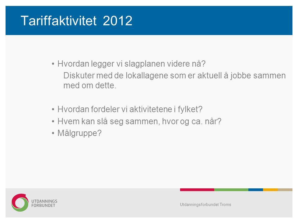 Tariffaktivitet 2012 Hvordan legger vi slagplanen videre nå