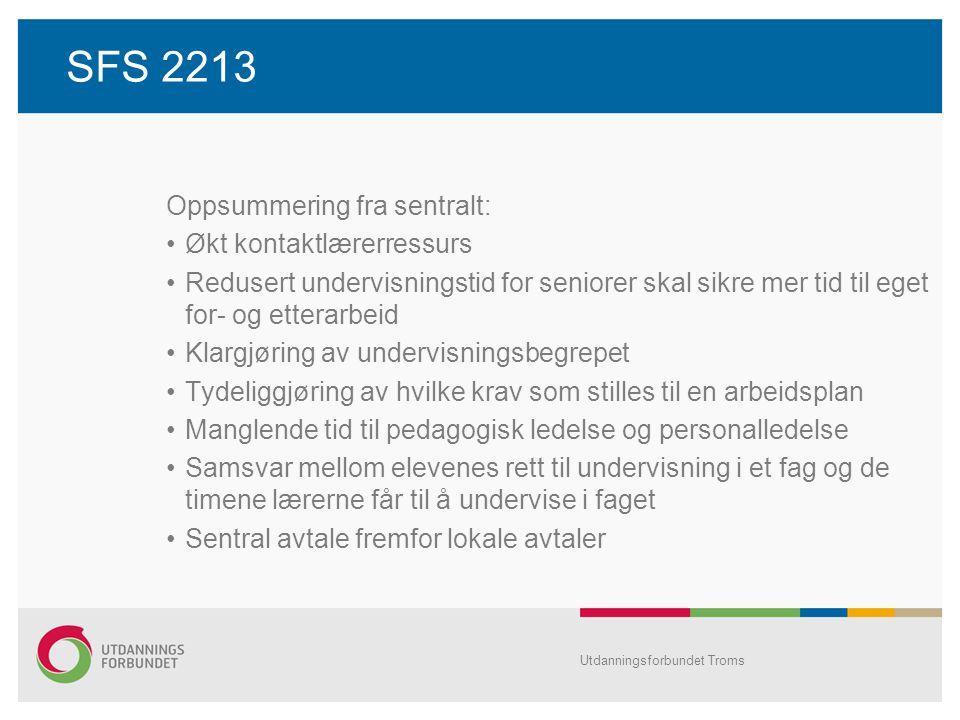 SFS 2213 Oppsummering fra sentralt: Økt kontaktlærerressurs