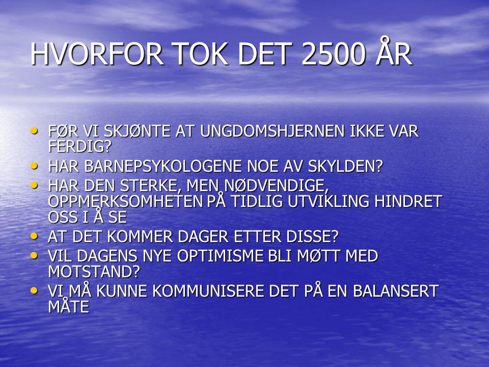 HVORFOR TOK DET 2500 ÅR FØR VI SKJØNTE AT UNGDOMSHJERNEN IKKE VAR FERDIG HAR BARNEPSYKOLOGENE NOE AV SKYLDEN