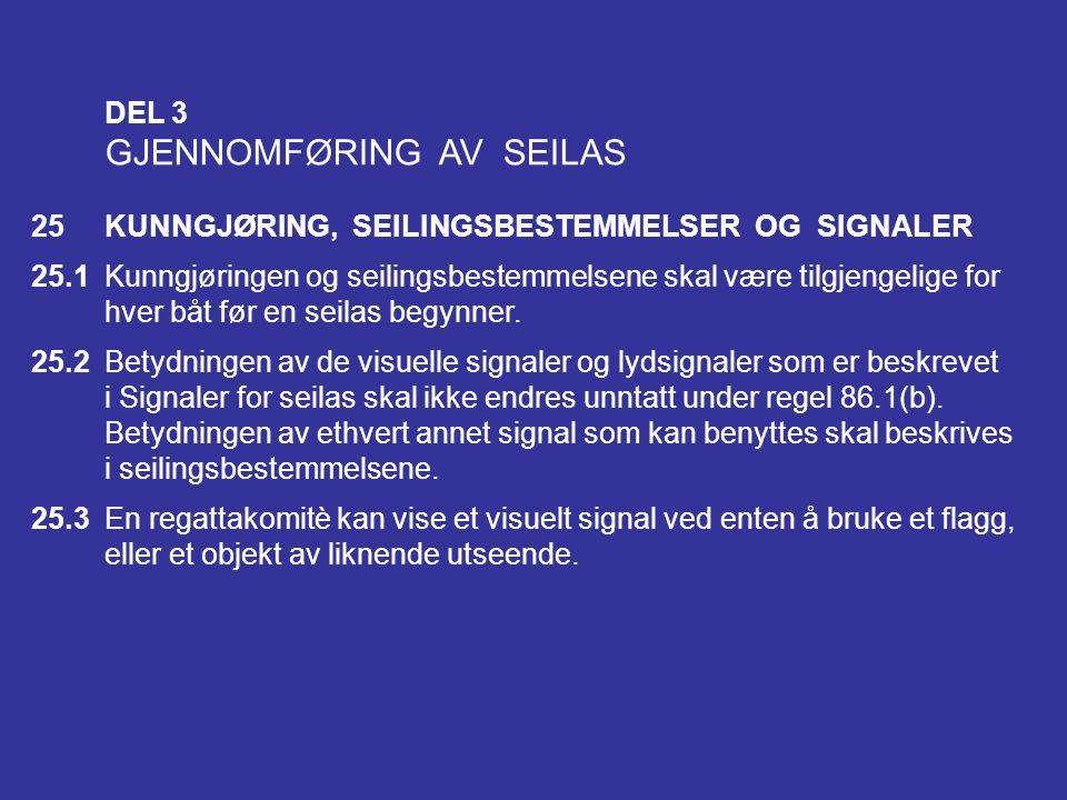 GJENNOMFØRING AV SEILAS