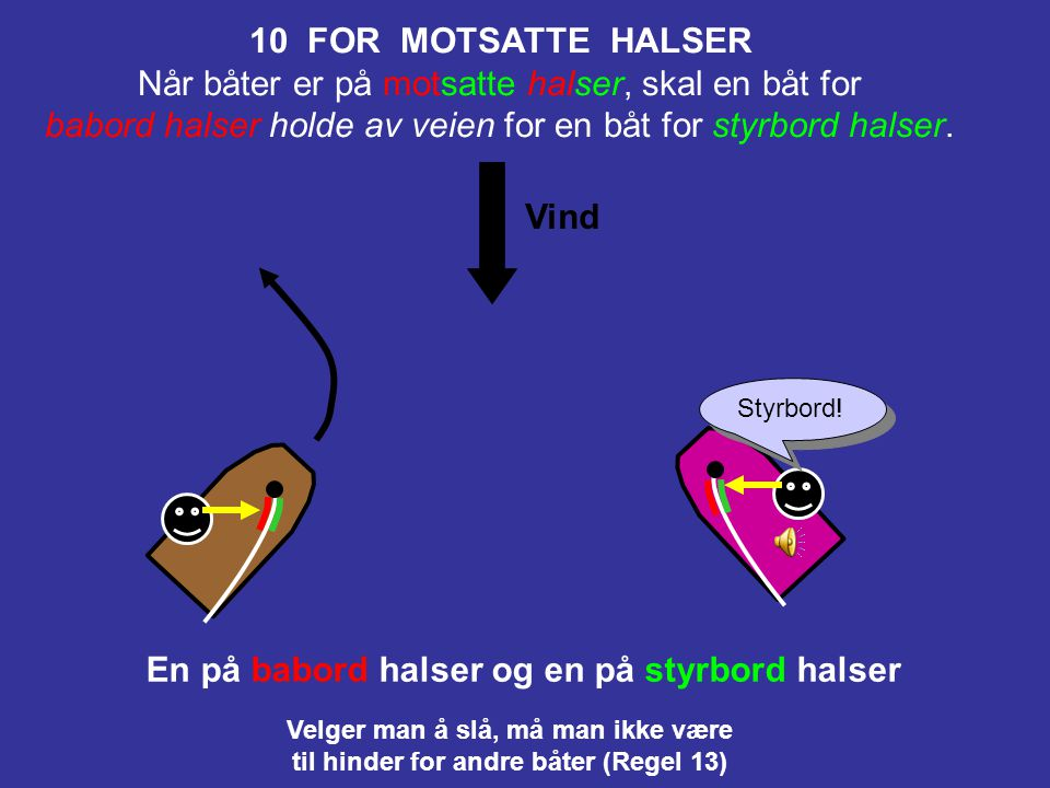 10 FOR MOTSATTE HALSER En på babord halser og en på styrbord halser