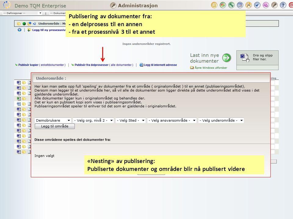 Publisering av dokumenter fra: - en delprosess til en annen - fra et prosessnivå 3 til et annet