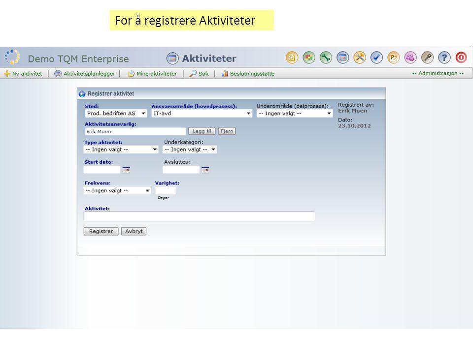 For å registrere Aktiviteter