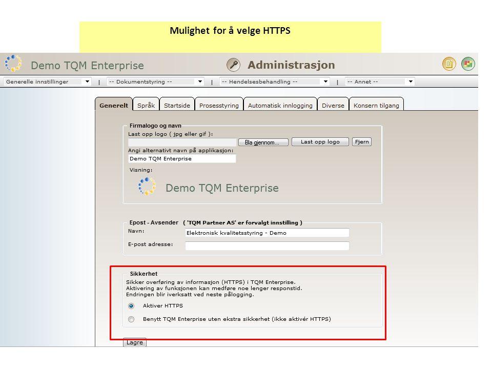Mulighet for å velge HTTPS