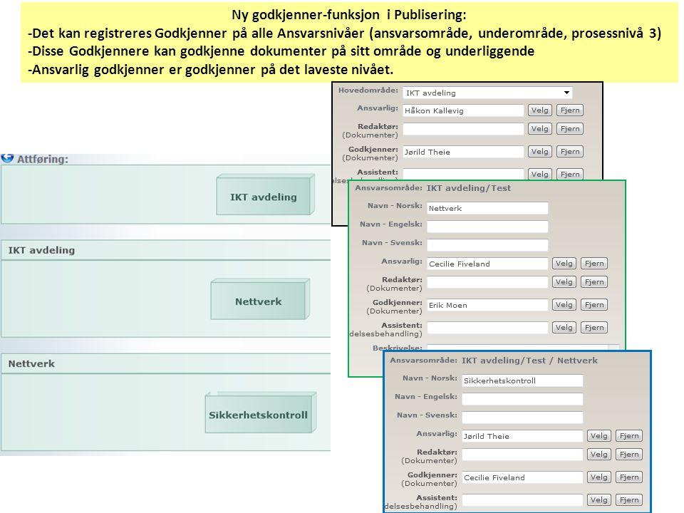Ny godkjenner-funksjon i Publisering: