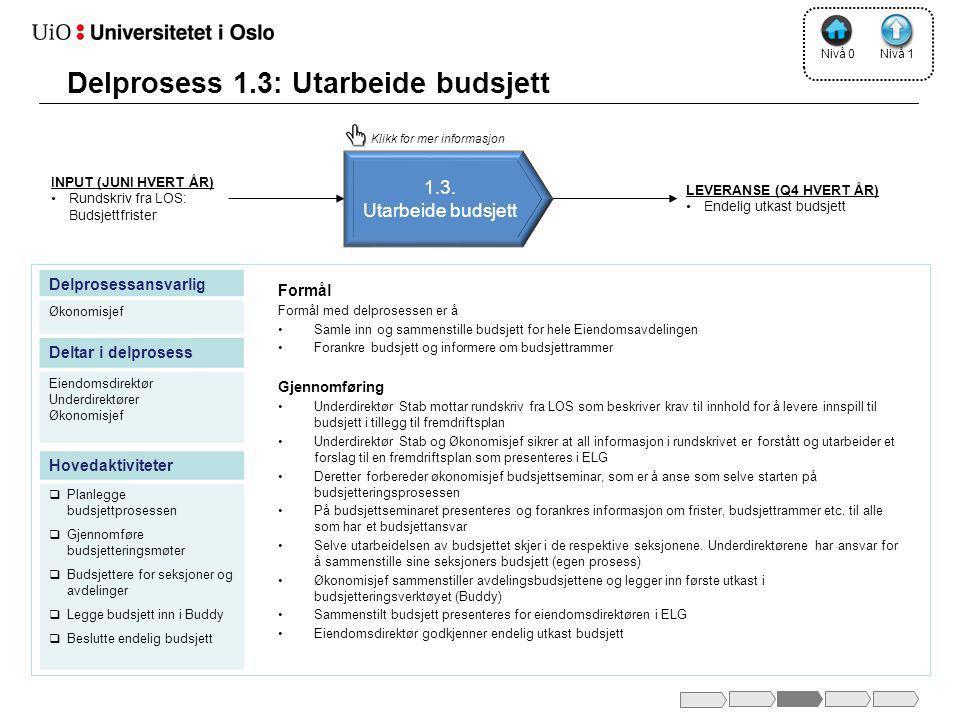 Delprosess 1.3: Utarbeide budsjett