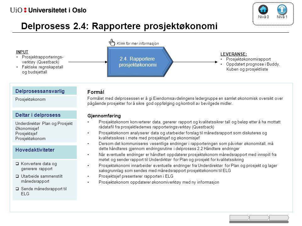 Delprosess 2.4: Rapportere prosjektøkonomi