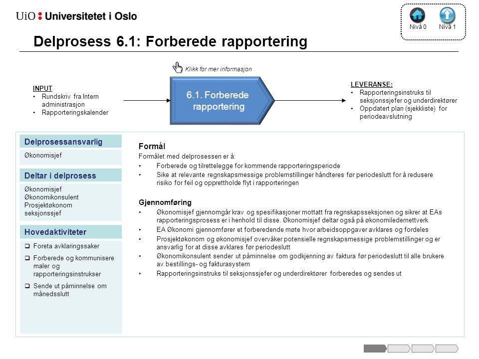 Delprosess 6.1: Forberede rapportering