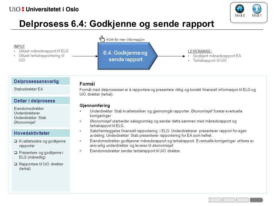 Delprosess 6.4: Godkjenne og sende rapport