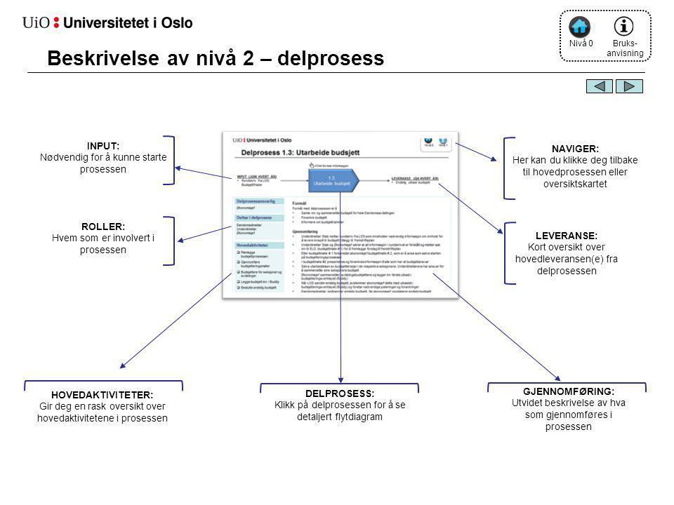 Beskrivelse av nivå 2 – delprosess