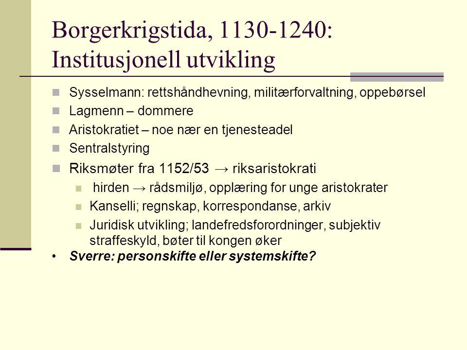 Borgerkrigstida, 1130-1240: Institusjonell utvikling