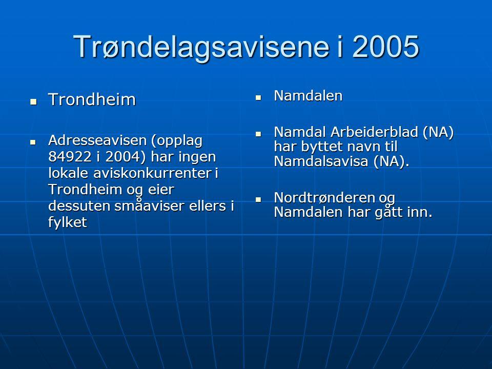 Trøndelagsavisene i 2005 Trondheim Namdalen