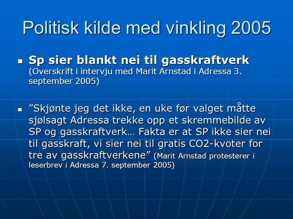 Politisk kilde med vinkling 2005