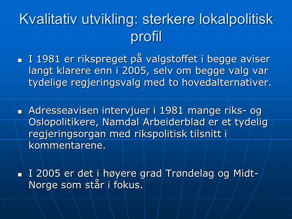 Kvalitativ utvikling: sterkere lokalpolitisk profil