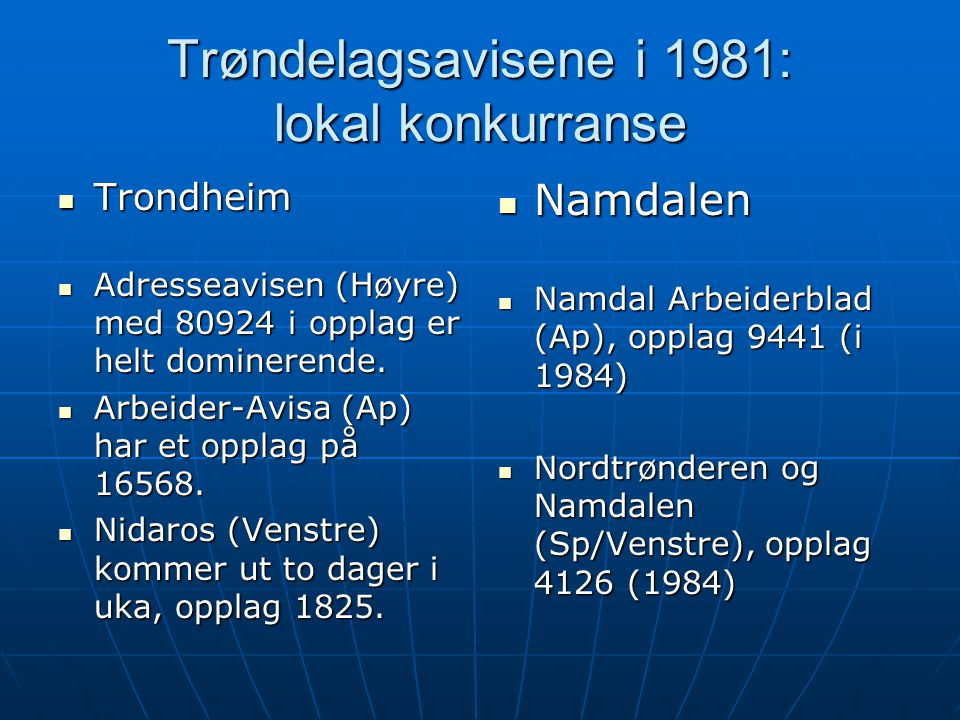 Trøndelagsavisene i 1981: lokal konkurranse