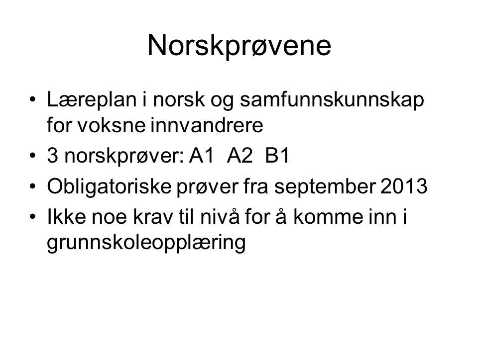 Norskprøvene Læreplan i norsk og samfunnskunnskap for voksne innvandrere. 3 norskprøver: A1 A2 B1.