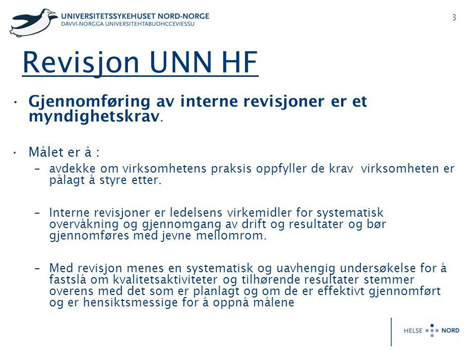 Revisjon UNN HF Gjennomføring av interne revisjoner er et myndighetskrav. Målet er å :