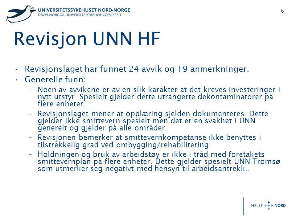 Revisjon UNN HF Revisjonslaget har funnet 24 avvik og 19 anmerkninger.