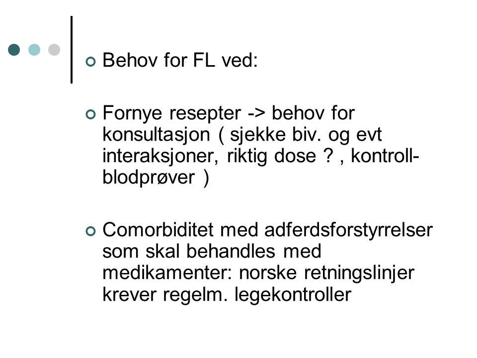 Behov for FL ved: Fornye resepter -> behov for konsultasjon ( sjekke biv. og evt interaksjoner, riktig dose , kontroll-blodprøver )