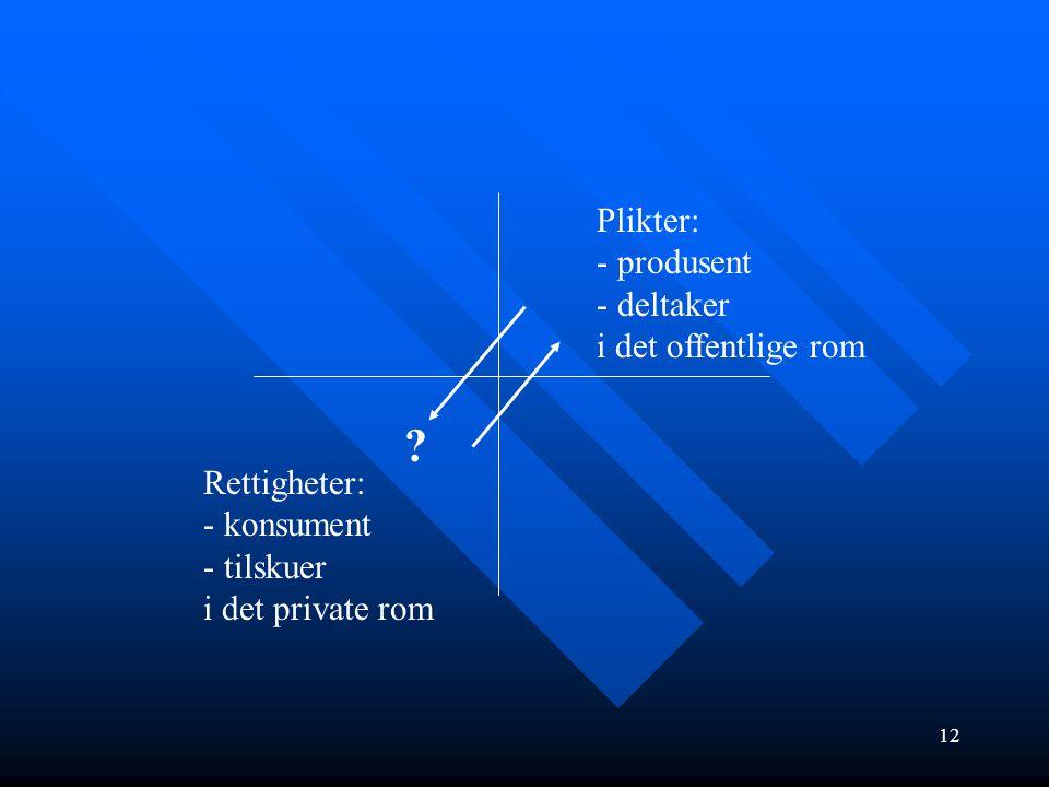 Plikter: - produsent deltaker i det offentlige rom Rettigheter: