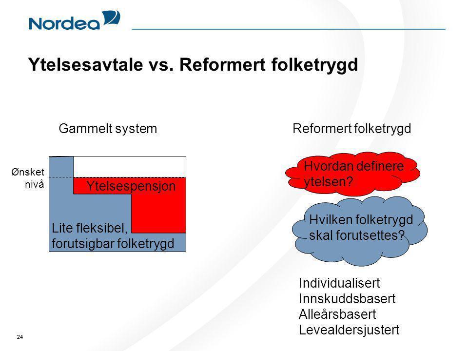 Ytelsesavtale vs. Reformert folketrygd