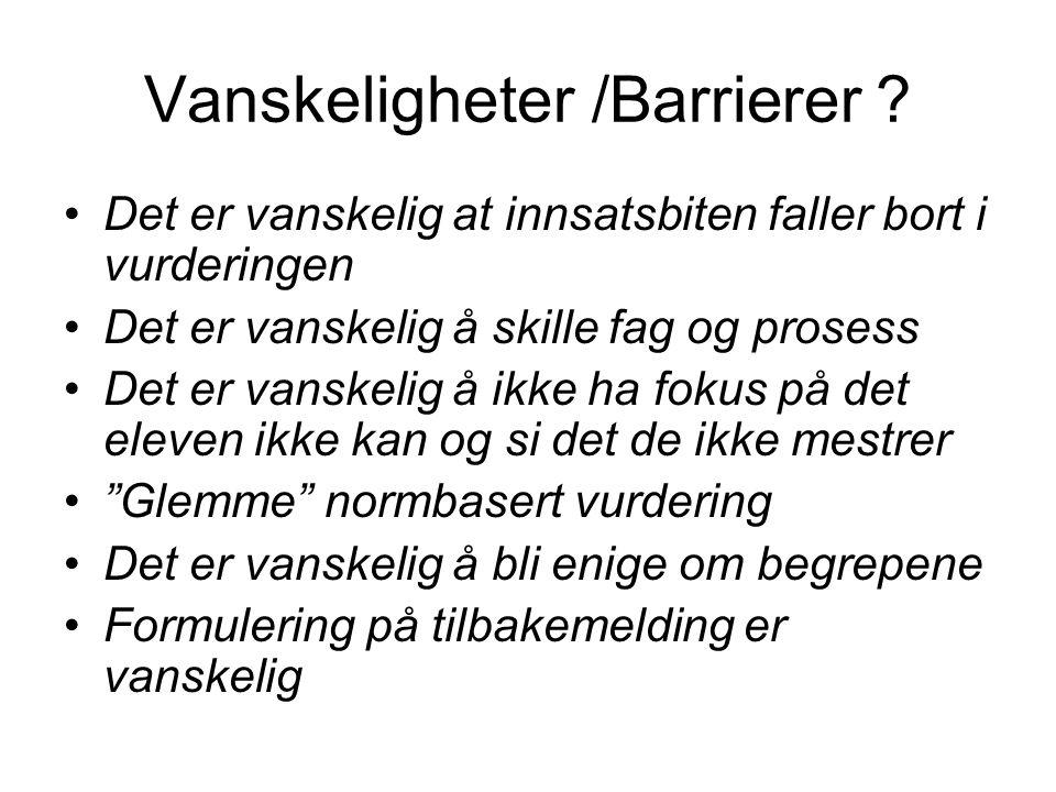 Vanskeligheter /Barrierer