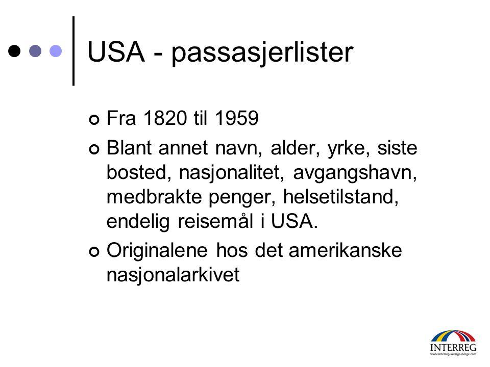 USA - passasjerlister Fra 1820 til 1959