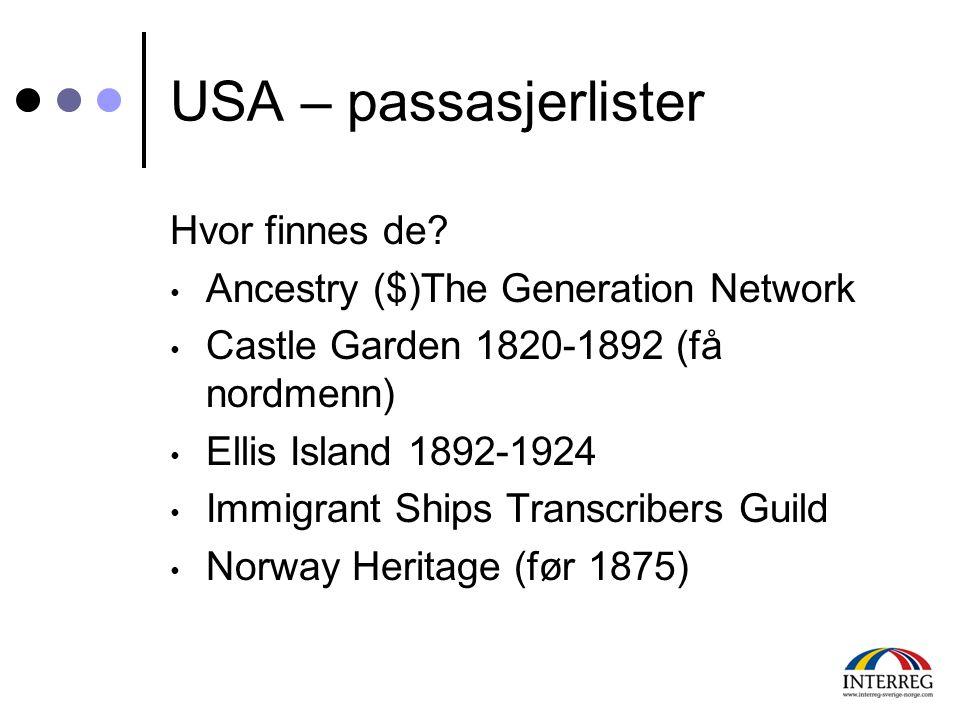 USA – passasjerlister Hvor finnes de