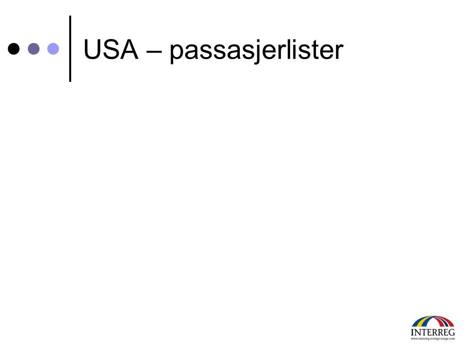USA – passasjerlister