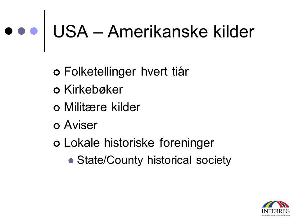 USA – Amerikanske kilder