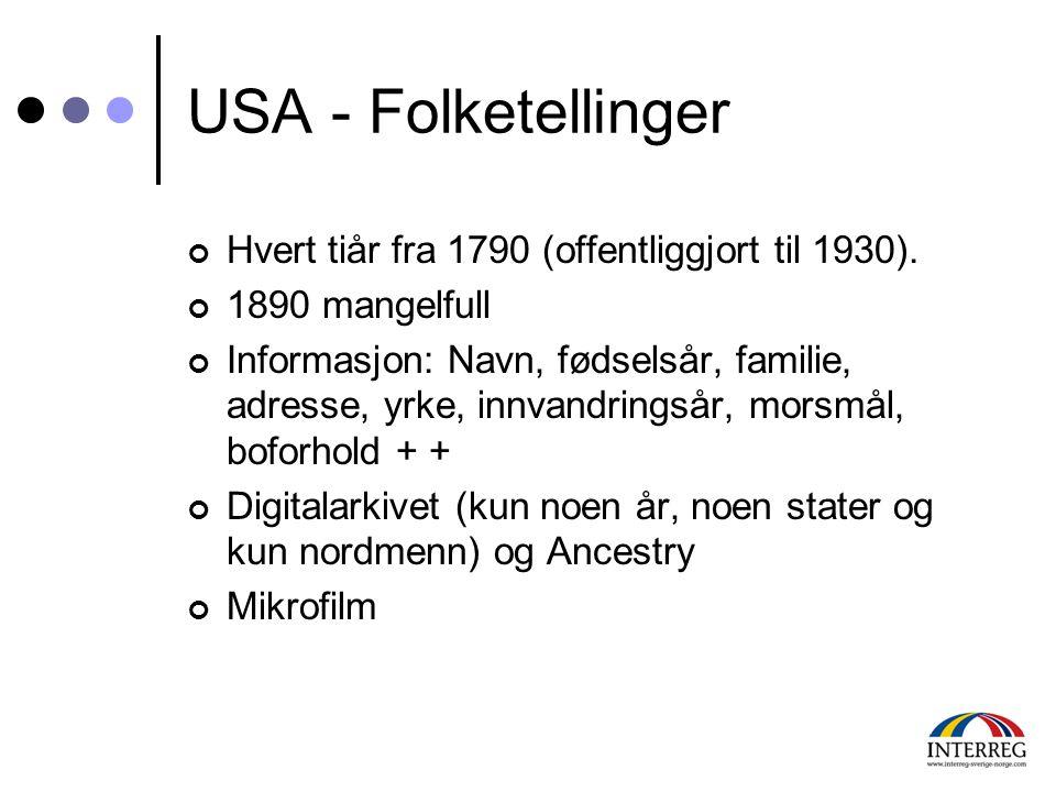USA - Folketellinger Hvert tiår fra 1790 (offentliggjort til 1930).