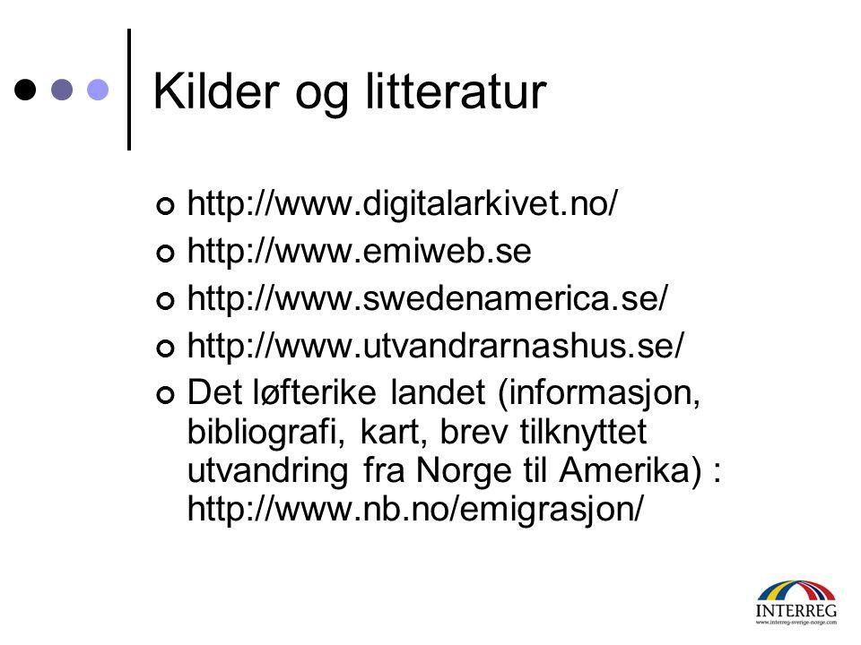 Kilder og litteratur http://www.digitalarkivet.no/