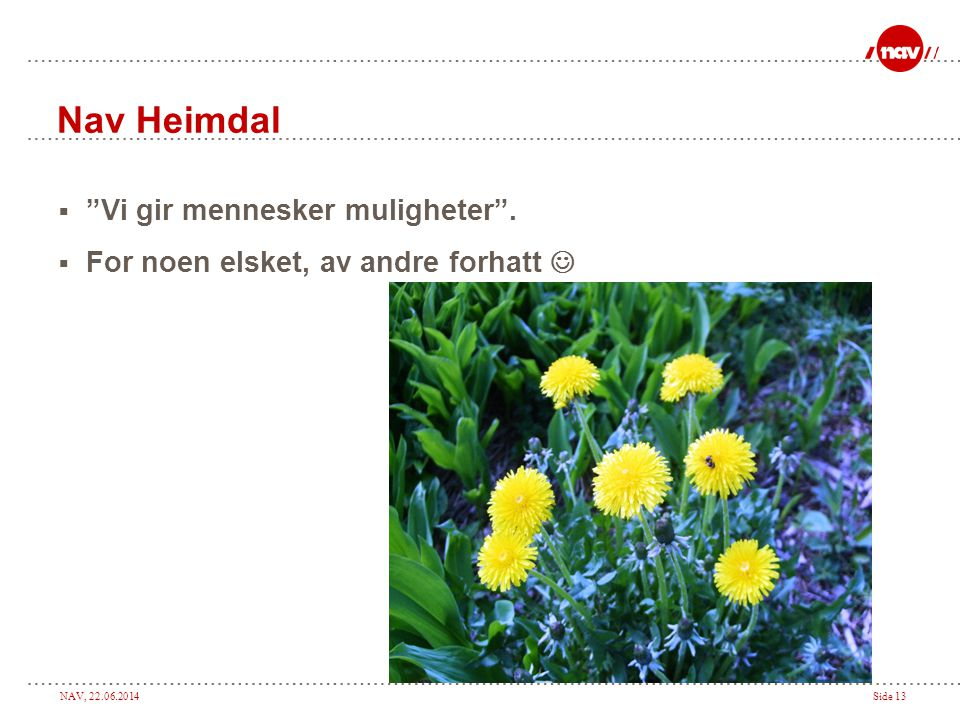 Nav Heimdal Vi gir mennesker muligheter .